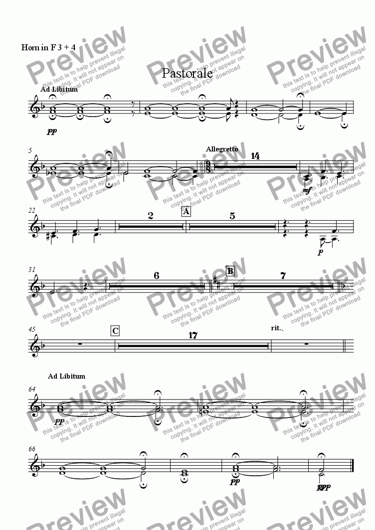 page one of the Horn in F 3 + 4 part from Pastorale (for Solo Oboe with Wind Ensemble)