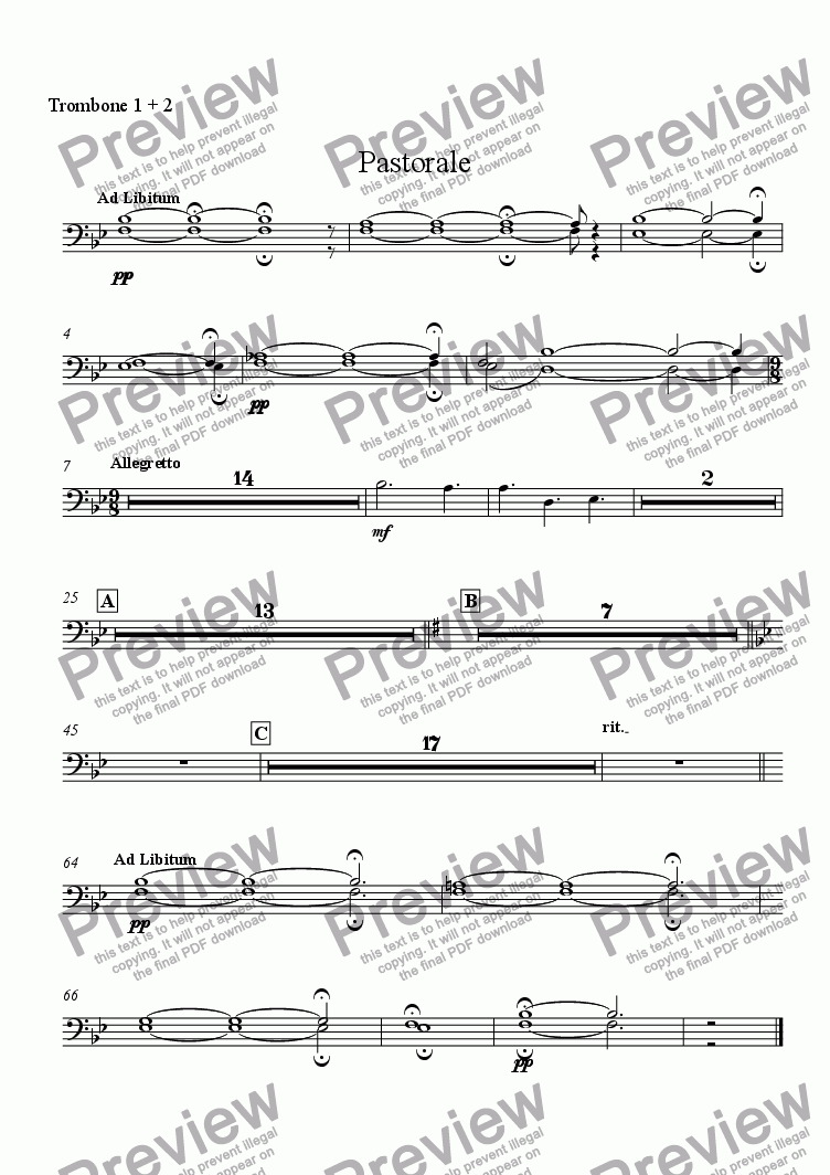 page one of the Trombone 1 + 2 part from Pastorale (for Solo Oboe with Wind Ensemble)