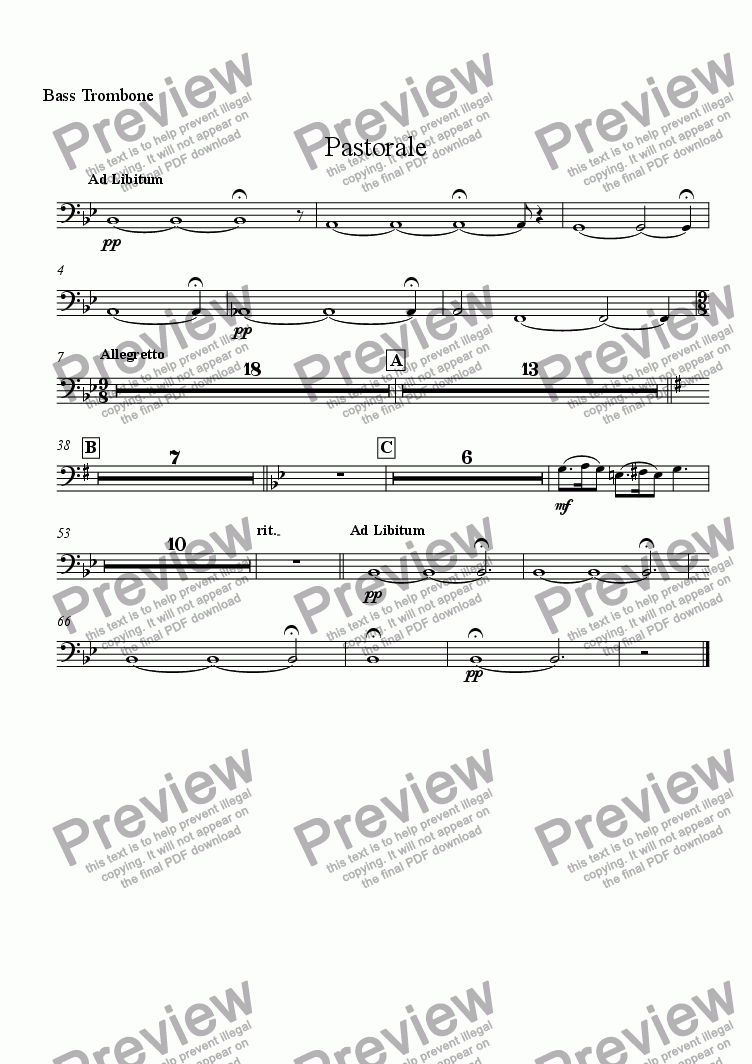 page one of the Bass Trombone part from Pastorale (for Solo Oboe with Wind Ensemble)