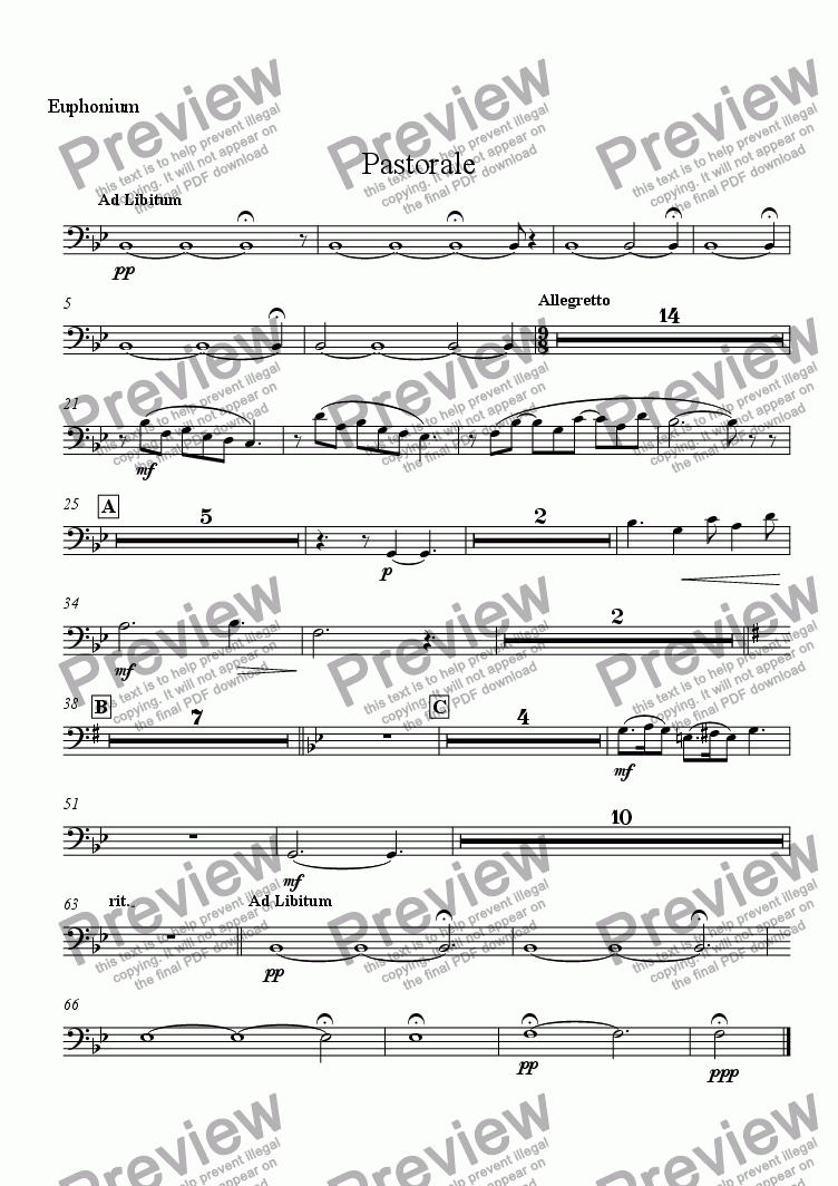 page one of the Euphonium part from Pastorale (for Solo Oboe with Wind Ensemble)