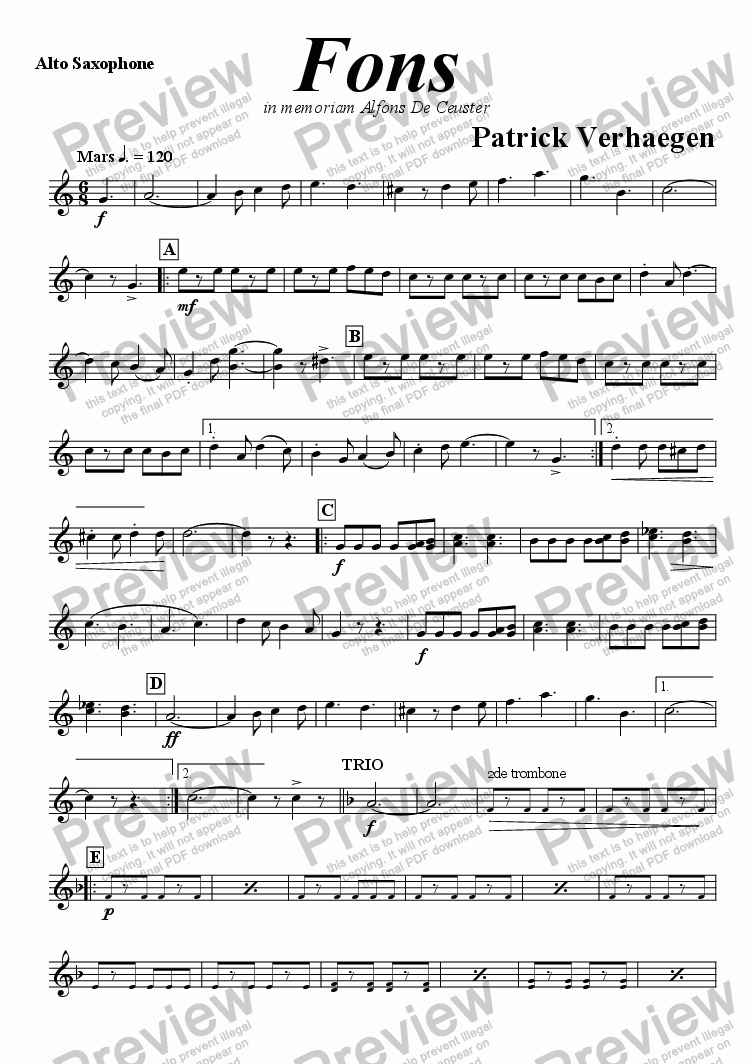 page one of the alto saxophone part from Fons (march for wind band)