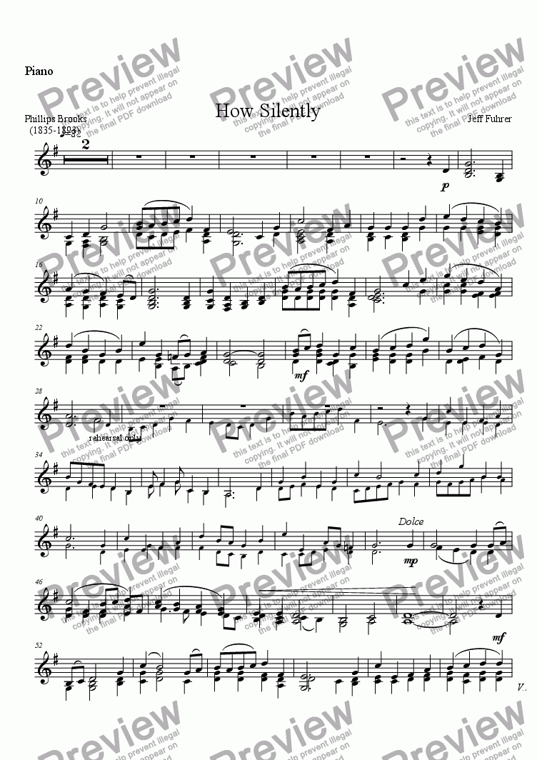 page one of the Piano part from How Silently