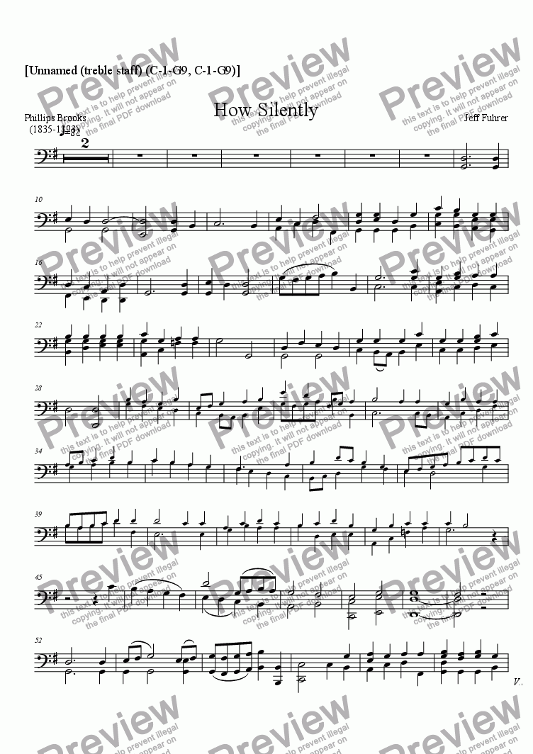page one of the [Unnamed (treble staff) (C-1-G9, C-1-G9)] part from How Silently