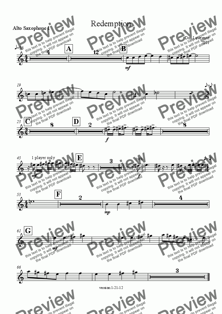 page one of the Alto Saxophone 1 part from Redemption