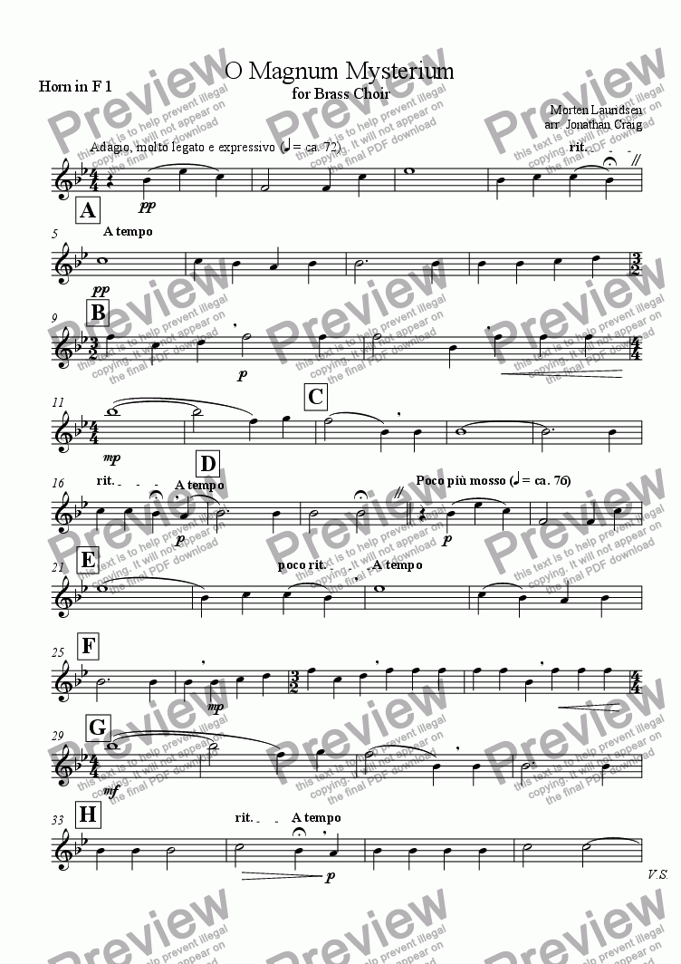 page one of the Horn in F 1 part from O Magnum Mysterium