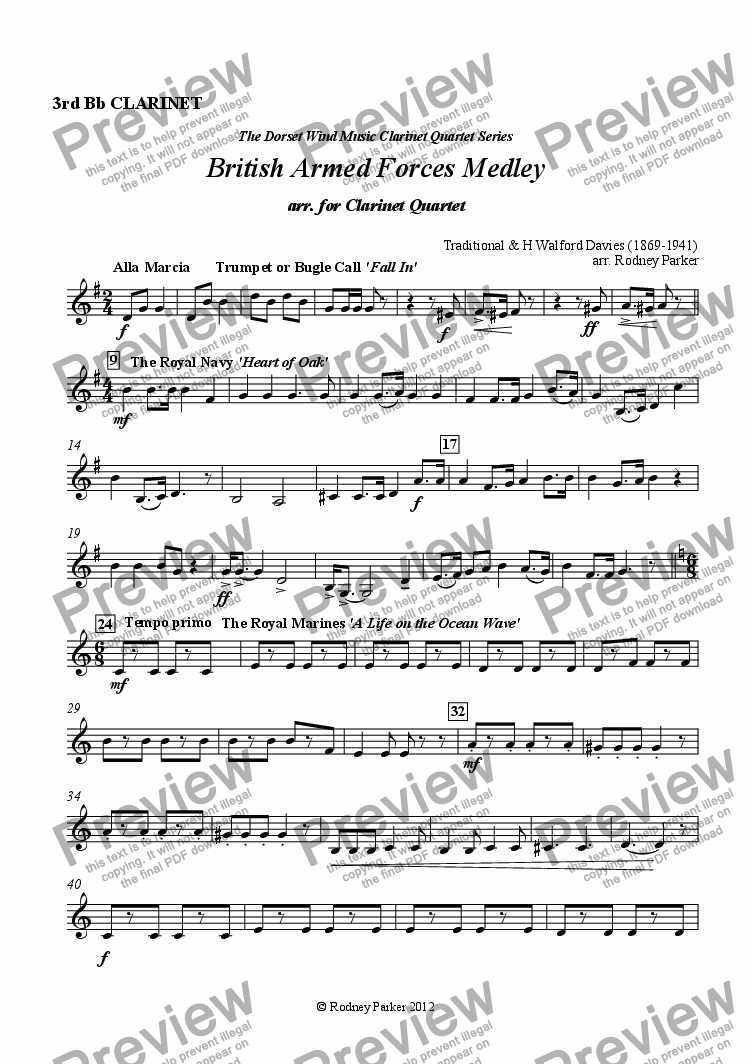 page one of the 3rd Clarinet in Bb part from British Armed Forces Medley