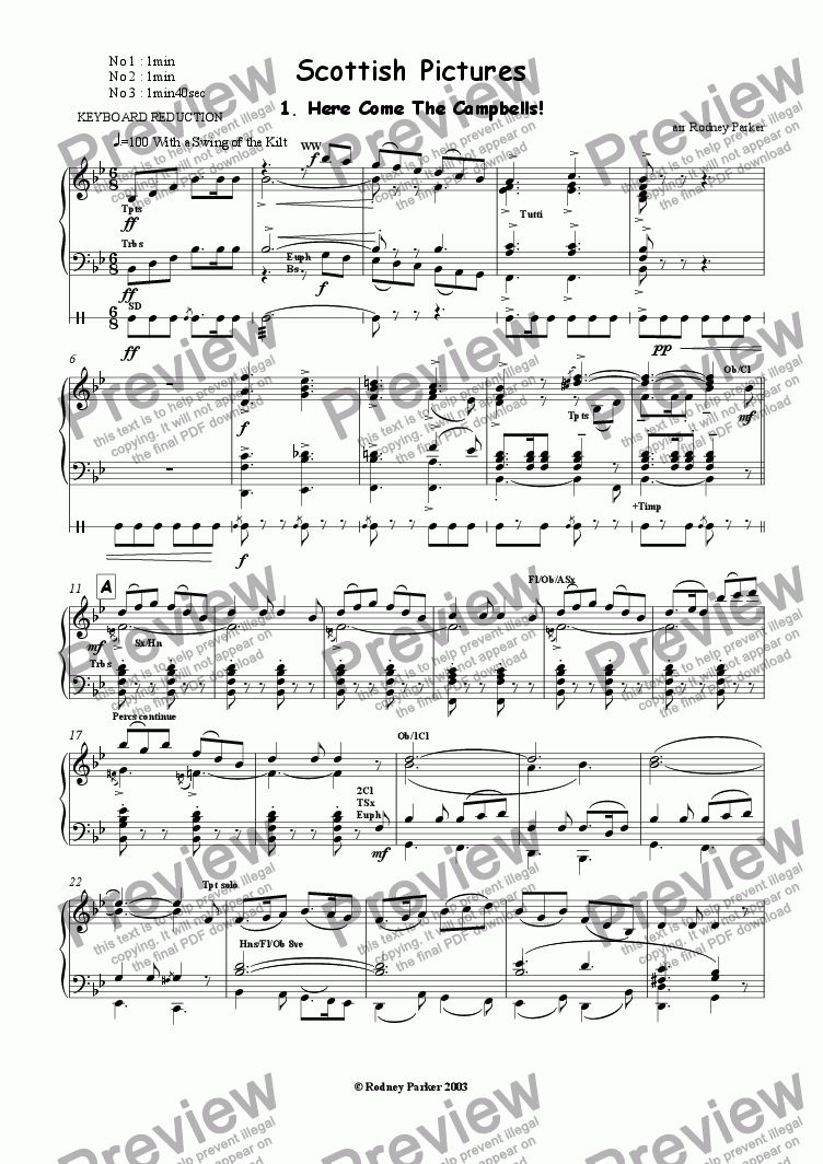 page one of the Keyboard Reduction part from Scottish Pictures