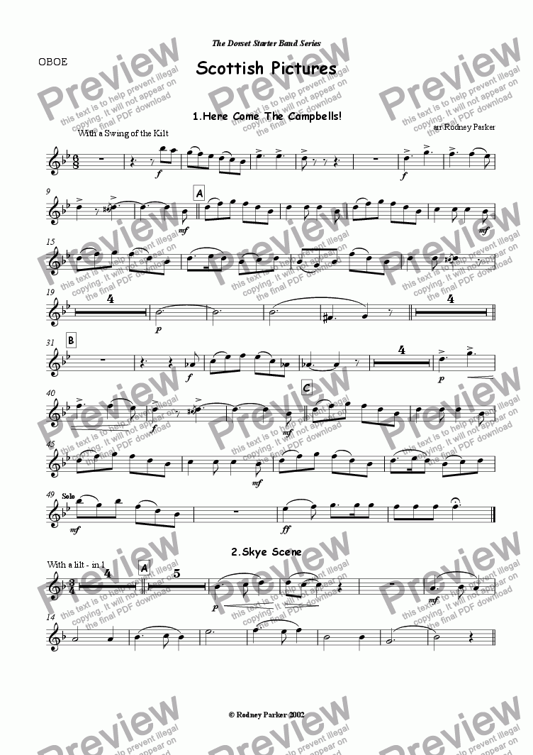 page one of the Oboe part from Scottish Pictures