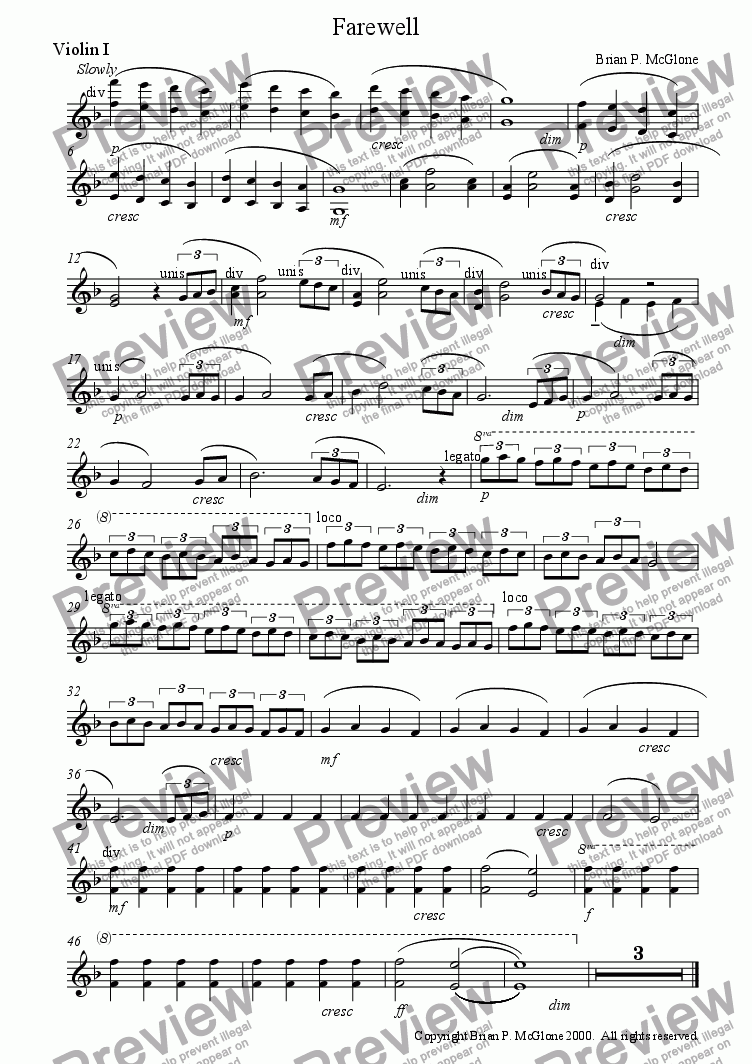 page one of the violin I part from Farewell