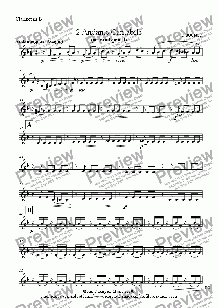 page one of the Clarinet in B^b part from Petit Symphonie: 2.Andante Cantabile