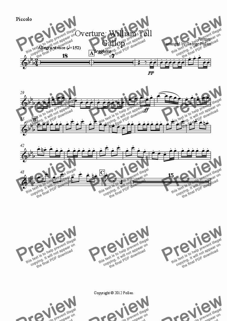 page one of the Piccolo part from Overture: William Tell (Gallop only) (CB)