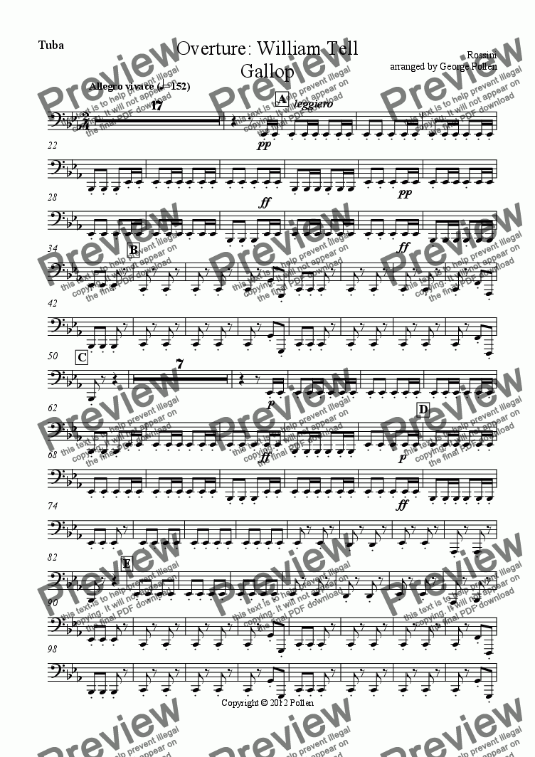 page one of the Tuba part from Overture: William Tell (Gallop only) (CB)
