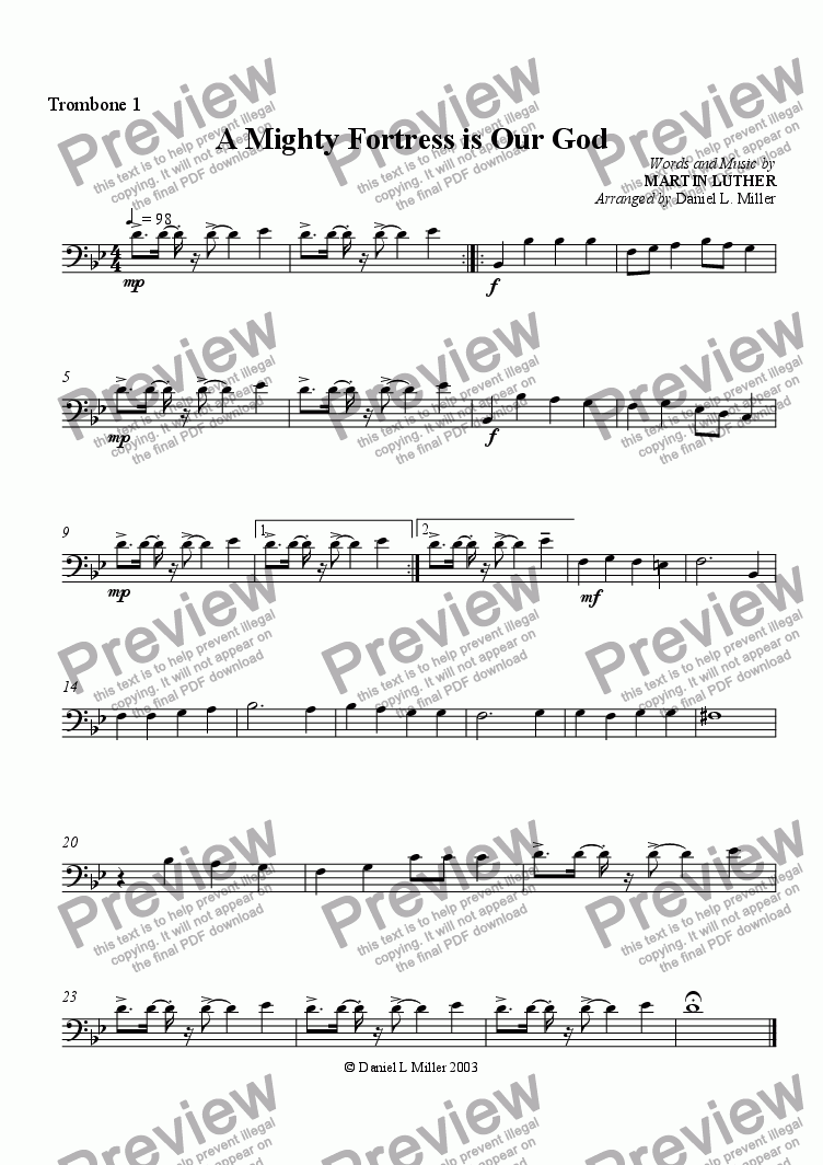 page one of the trombone 1 part from A Mighty Fortress is Our God