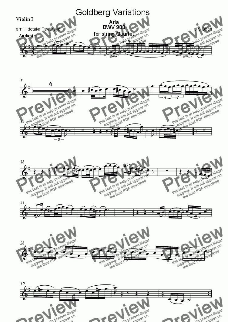 page one of the Violin I part from Goldberg Variations for String Quartet - Aria