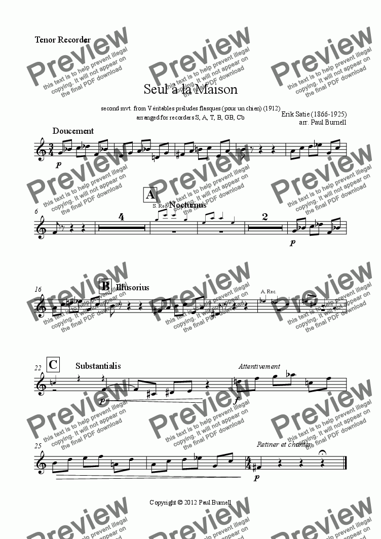 page one of the Tenor Recorder part from Seul à la Maison, arranged for recorders S,A,T,B,Gb,Cb