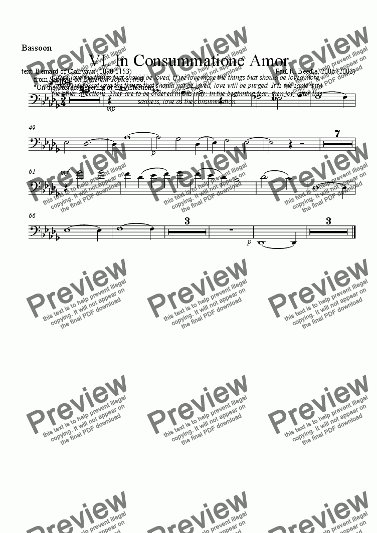 page one of the Bassoon part from Mystical Mass - 06 In Consummatione Amor