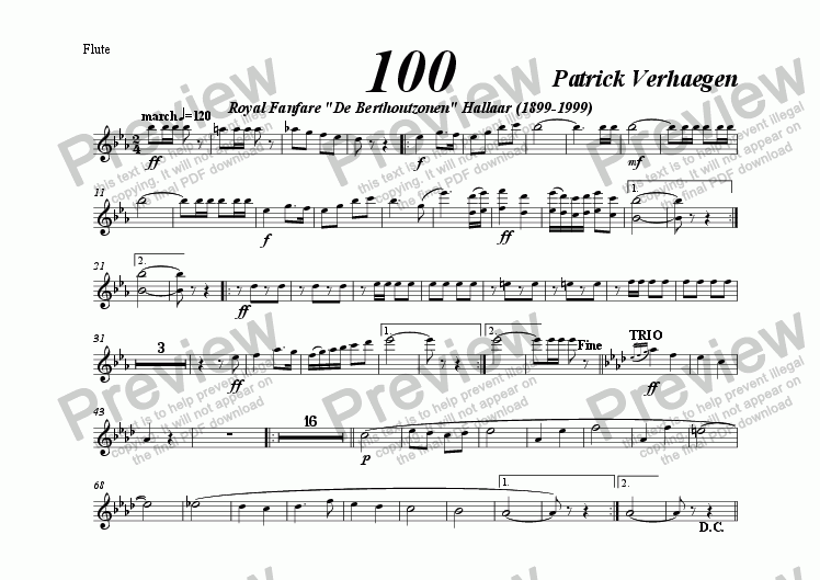 page one of the flute part from 100 (march for wind band)