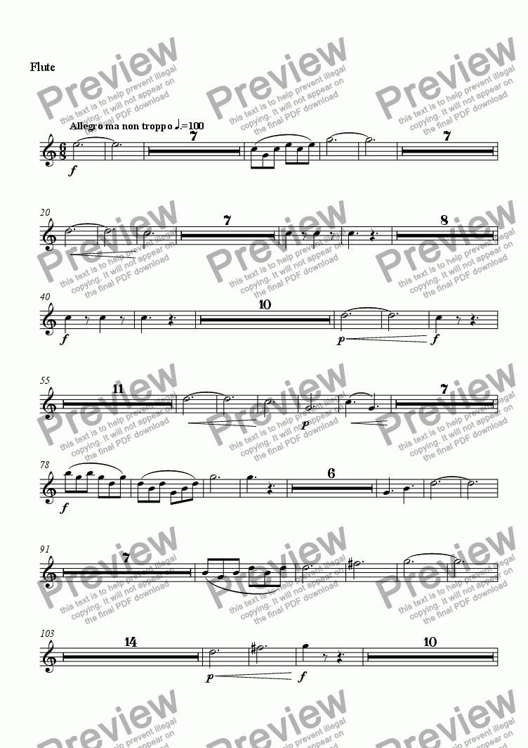 page one of the Flute part from Concerto for Piano and Orchestra