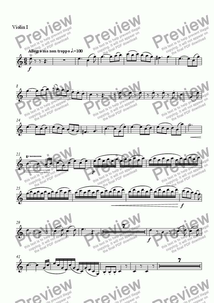 page one of the Violin I part from Concerto for Piano and Orchestra
