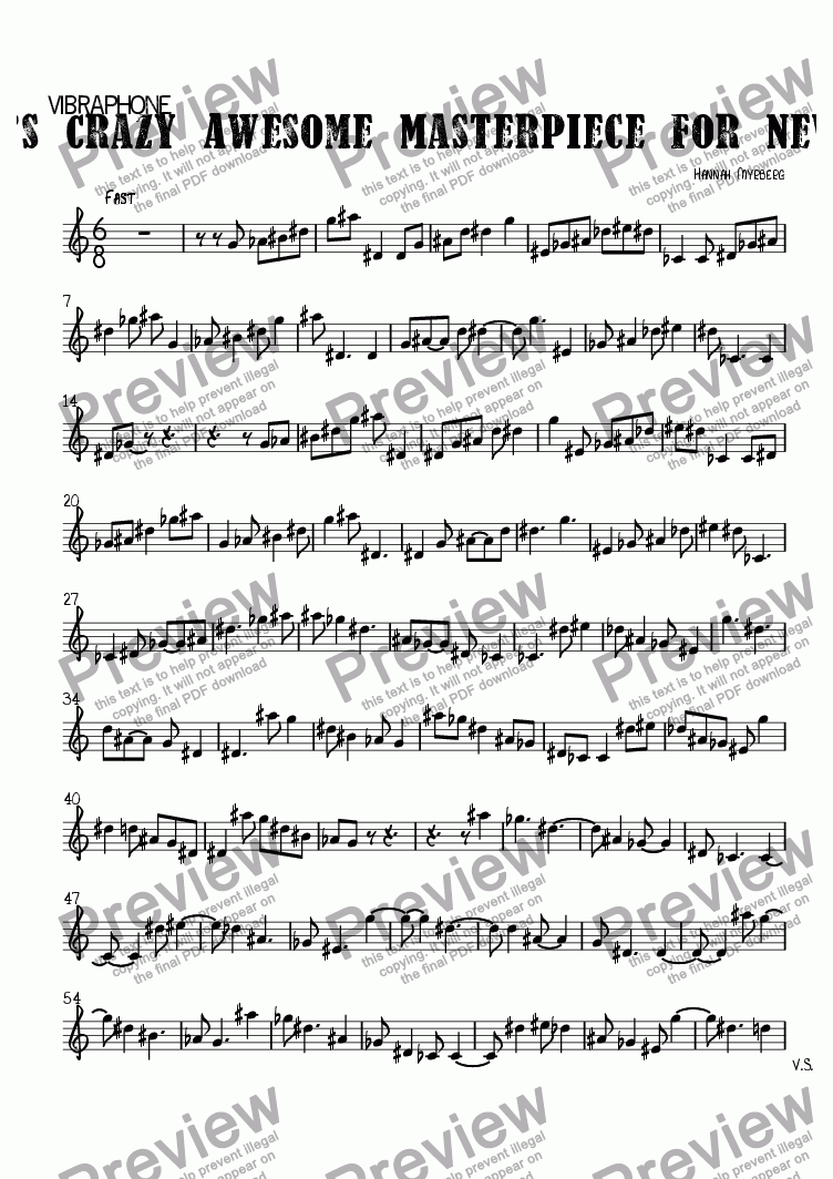page one of the Vibraphone part from Icky Tacky