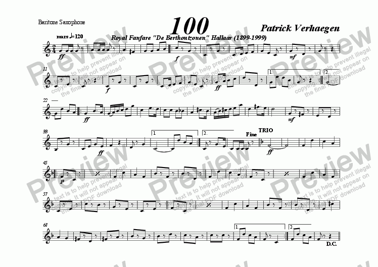 page one of the baritone saxophone part from 100 (march for wind band)