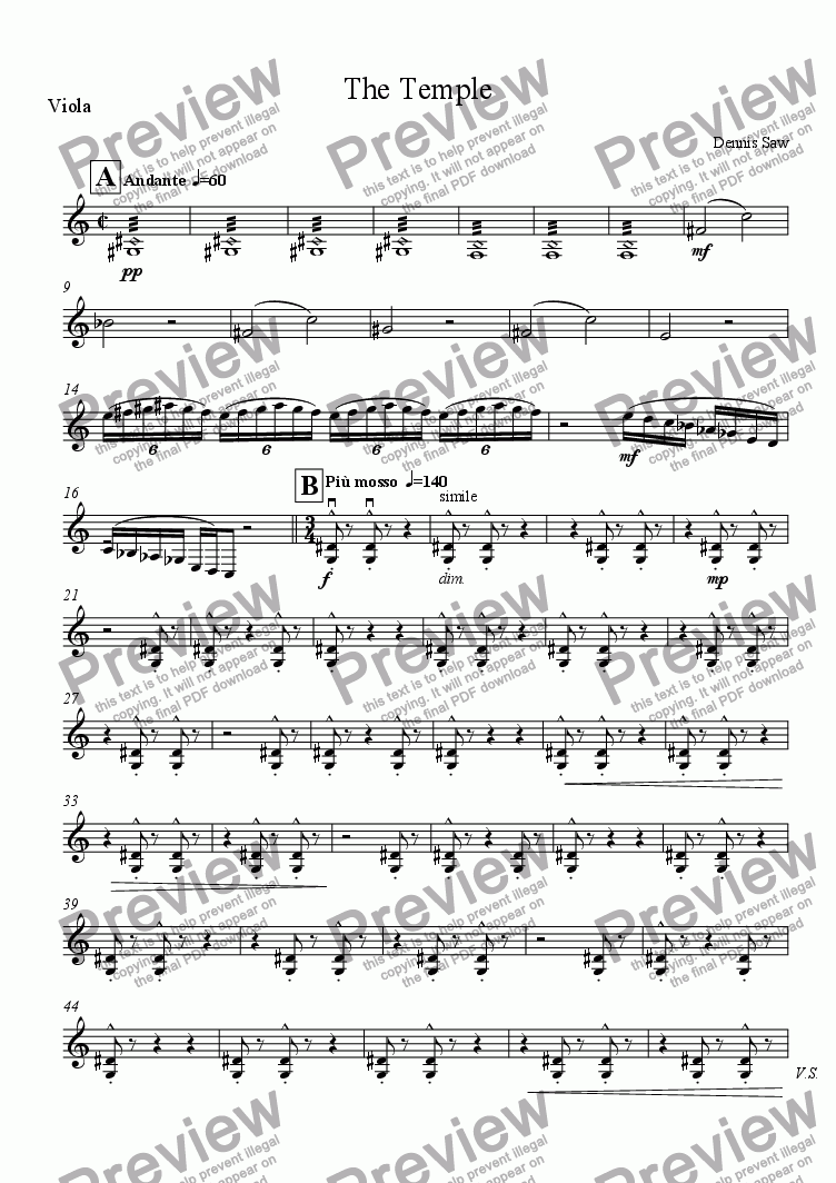 page one of the Viola part from The Temple