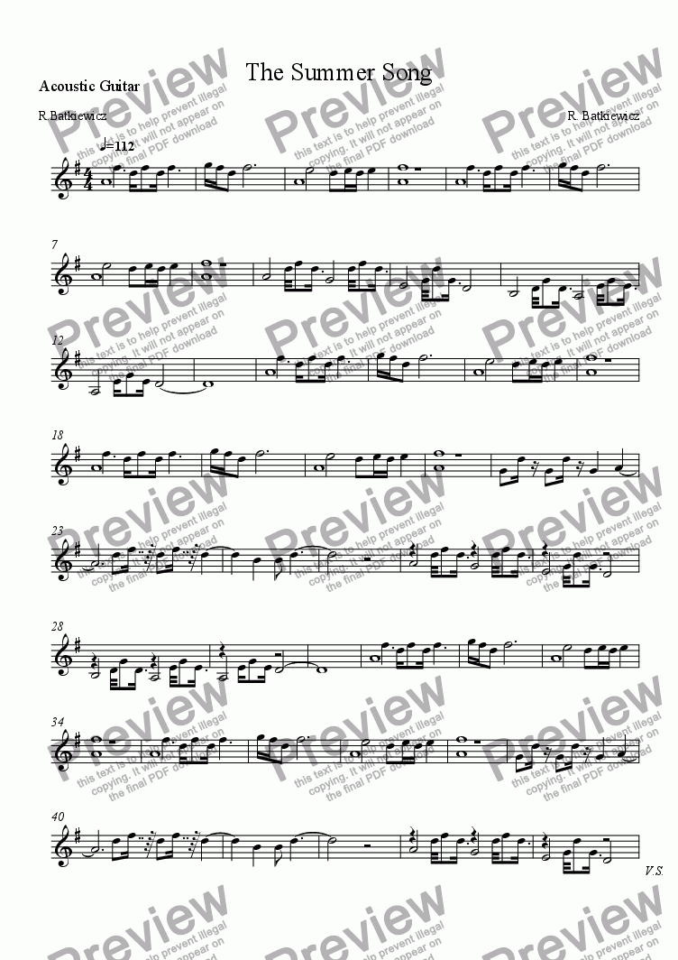 page one of the Acoustic Guitar part from The Summer Song