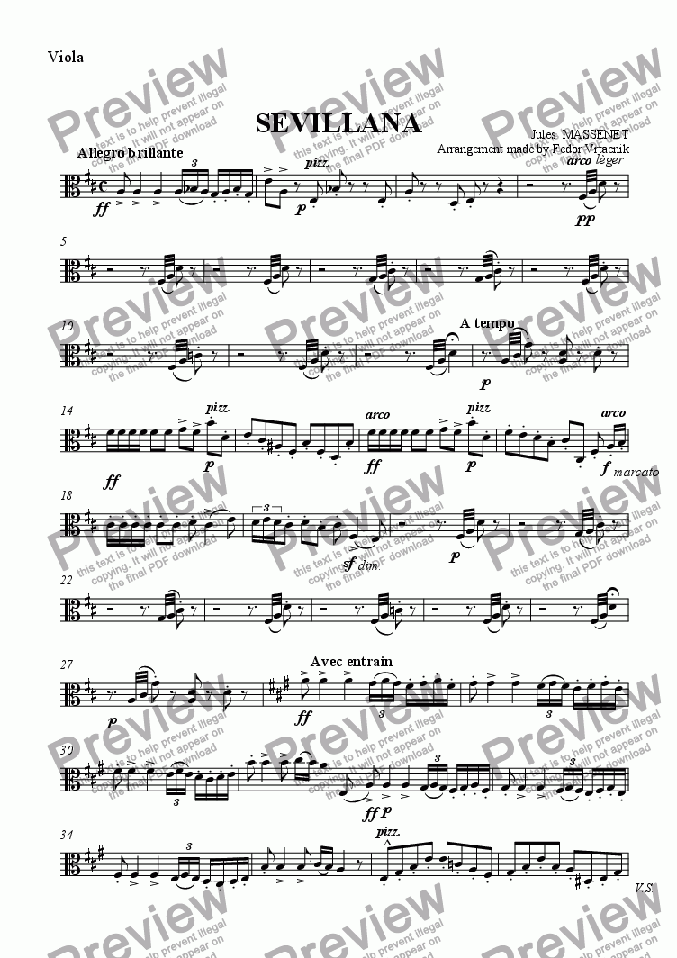 page one of the Viola part from SEVILLANA