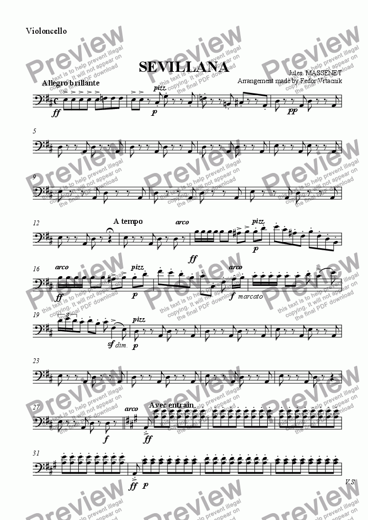 page one of the Violoncello part from SEVILLANA