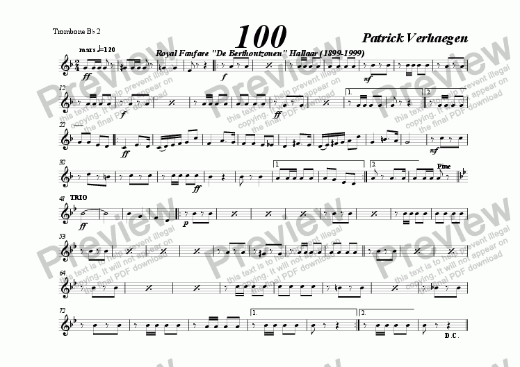 page one of the trombone Bb tc 2 part from 100 (march for wind band)