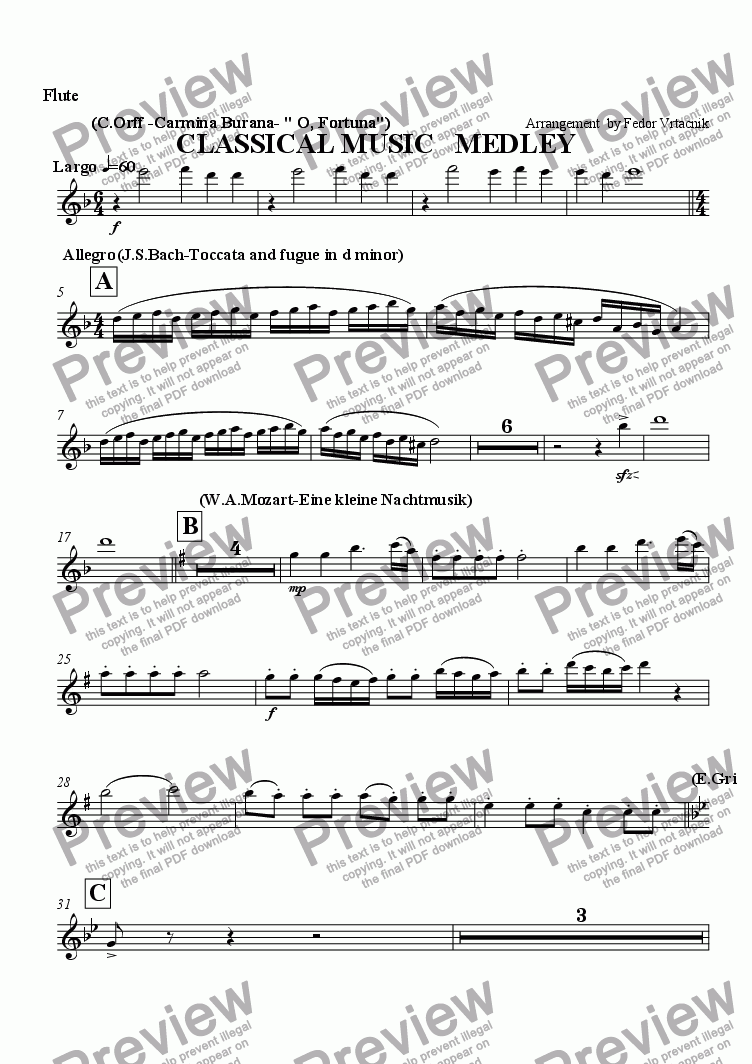 page one of the Flute part from CLASSICAL MUSIC   MEDLEY