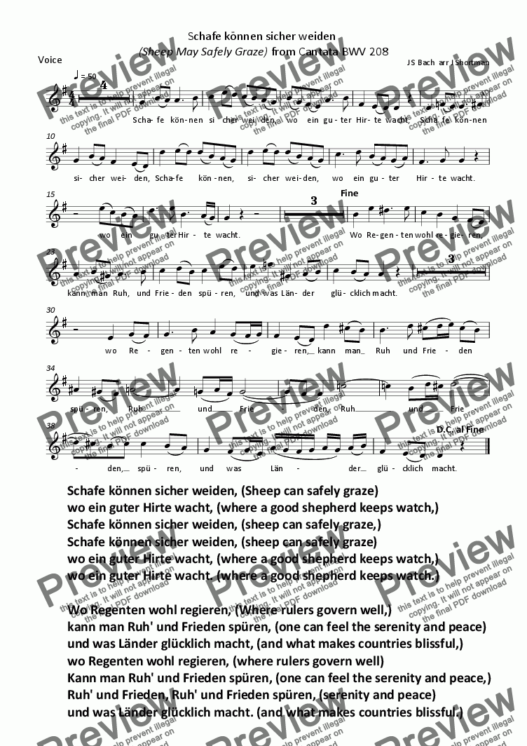 page one of the Voice part from BACH - Schafe konnen sicher weiden (Sheep May Safely Graze) arranged for Recorders, Choir, Piano & Training String Quartet