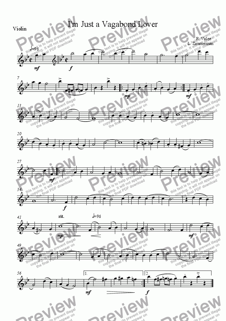 page one of the Violin part from I'm Just a Vagabond Lover Quartet - flute