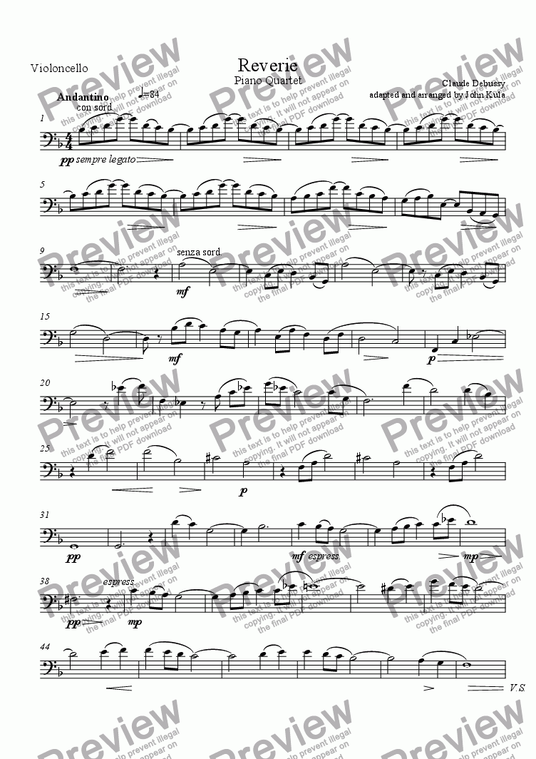 page one of the Violoncello part from Reverie - Piano Quartet (flute-no viola)
