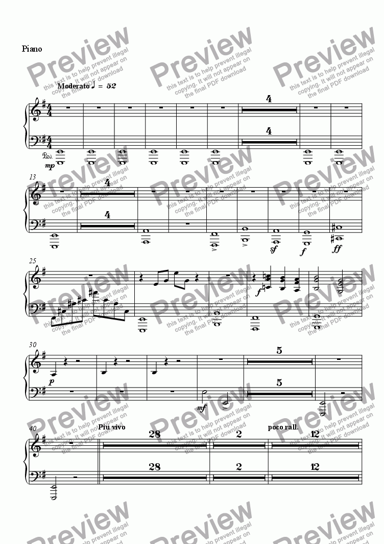 page one of the Piano part from Elegie Rachmaninoff