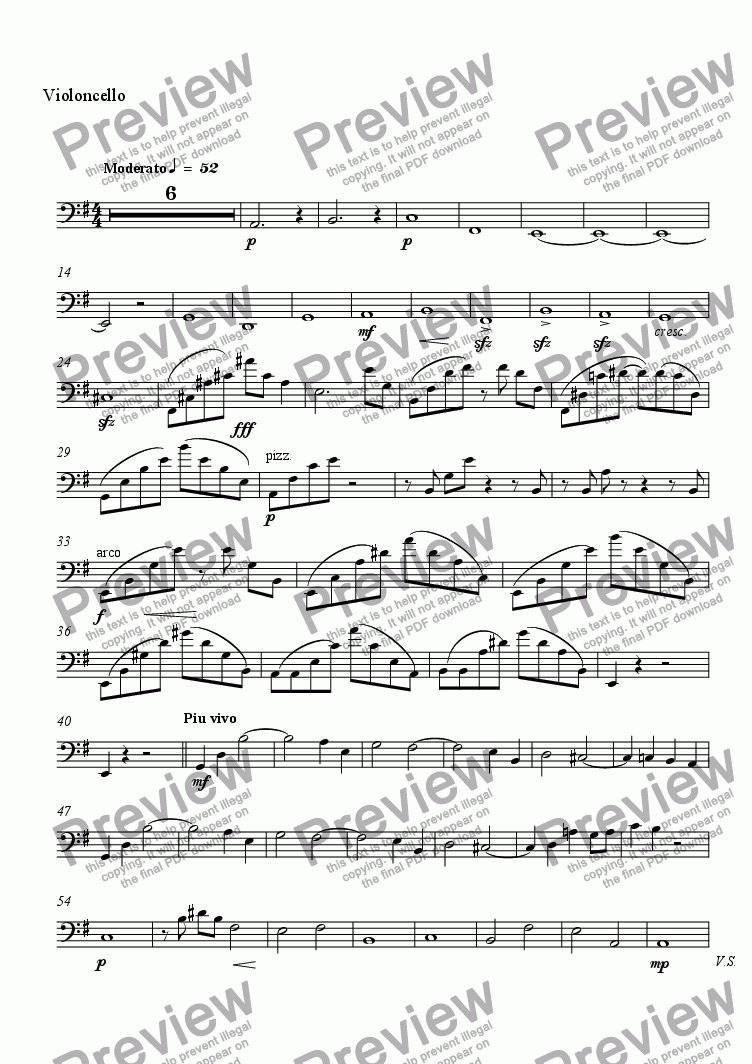 page one of the Violoncello part from Elegie Rachmaninoff
