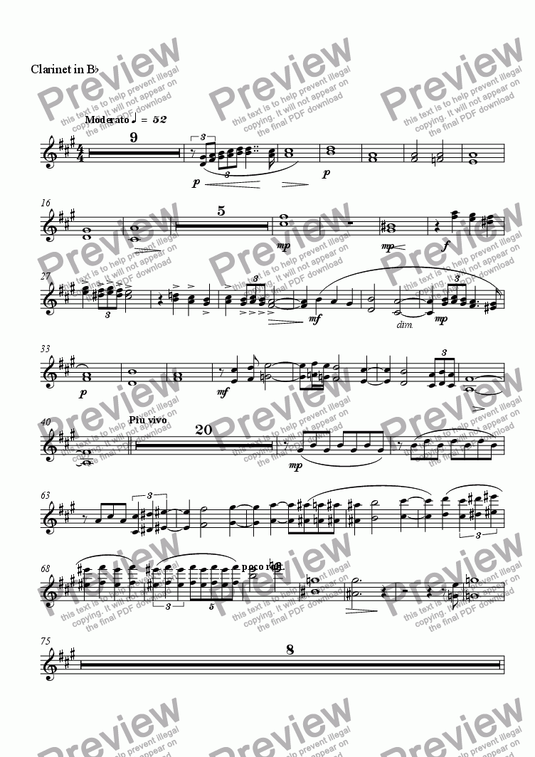 page one of the Clarinet in B^b part from Elegie Rachmaninoff