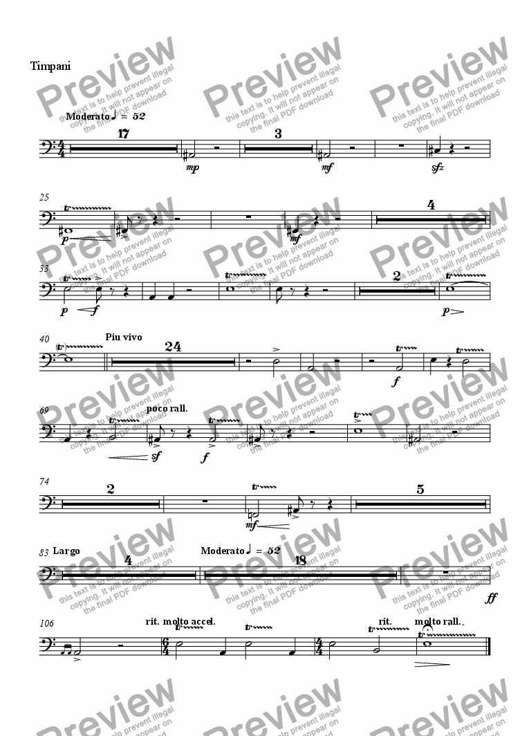 page one of the Timpani part from Elegie Rachmaninoff
