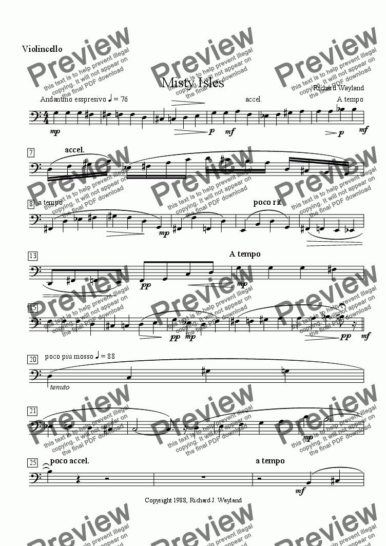 page one of the Violincello part from Misty Isles (Strg Orch)