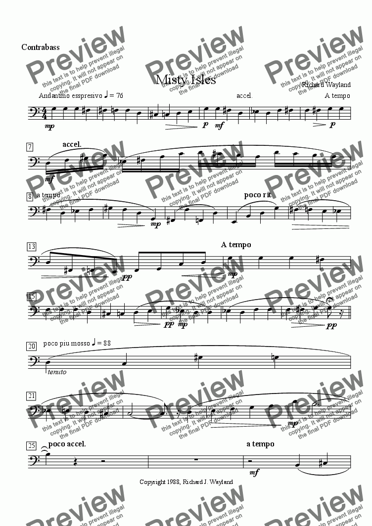 page one of the Contrabass part from Misty Isles (Strg Orch)