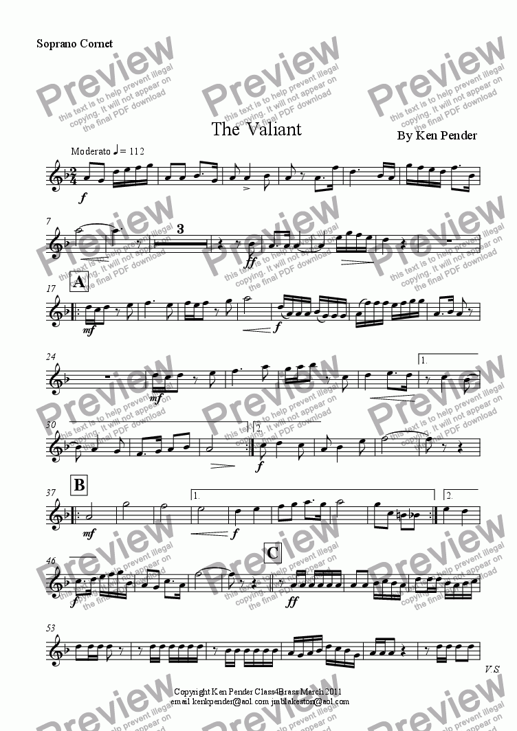 page one of the Soprano Cornet part from The Valiant