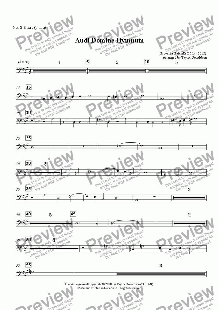 page one of the No. 8 Basis (Tuba) part from Audi Domine Hymnum (8-part Brass Choir)