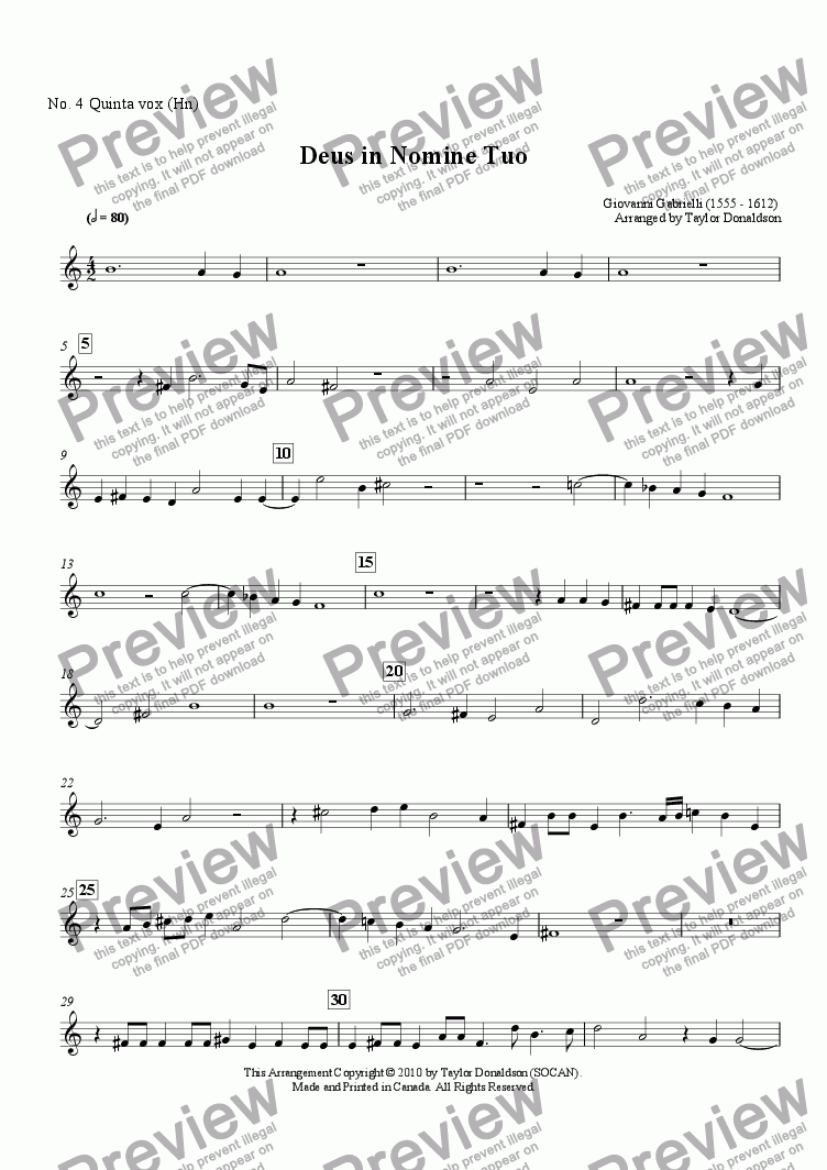 page one of the No. 4 Quinta vox (Hn) part from Deus in Nomine Tuo (8-part Brass Choir)
