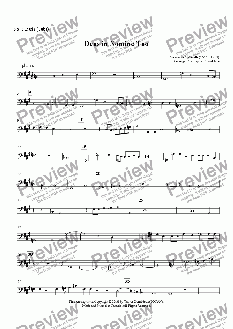 page one of the No. 8 Basis (Tuba) part from Deus in Nomine Tuo (8-part Brass Choir)