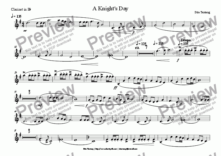 page one of the Clarinet in Bb part from A Knight's Day