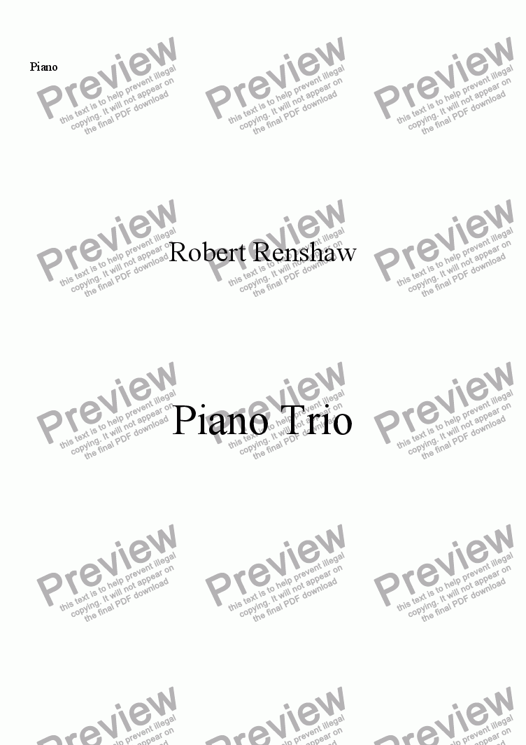 page one of the Piano part from Piano Trio (Vl, Vlc, Pno)