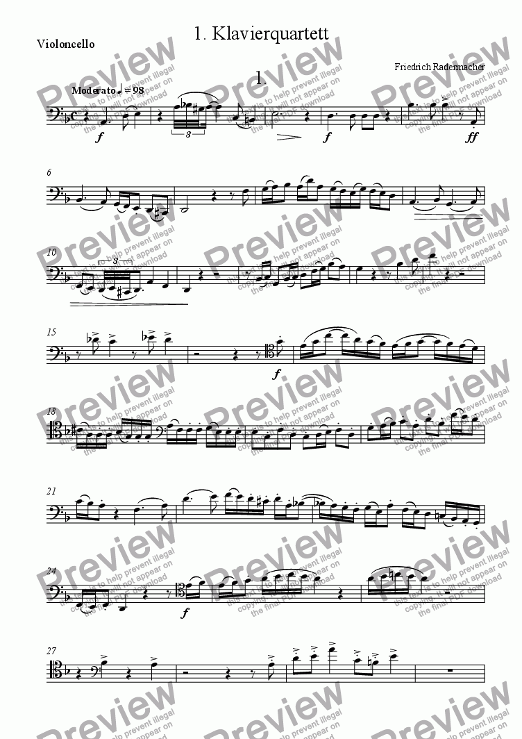 page one of the Violoncello part from 1. Klavierquartett  1.