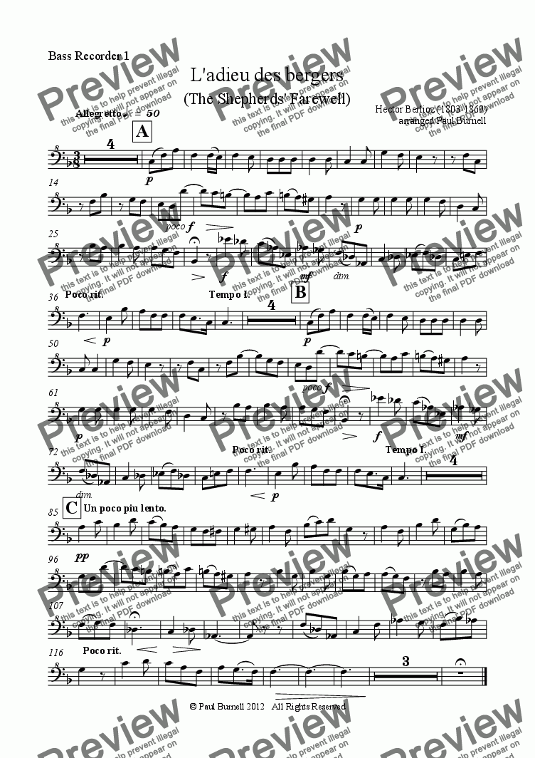 page one of the Bass Recorder 1 part from L'adieu des bergers (The Shepherds' Farewell), arranged for recorder orchestra S,S,A,A,T,T,B,B,Gb,Cb