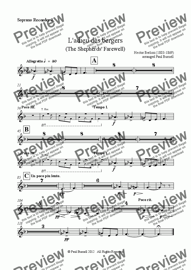 page one of the Soprano Recorder 2 part from L'adieu des bergers (The Shepherds' Farewell), arranged for recorder orchestra S,S,A,A,T,T,B,B,Gb,Cb