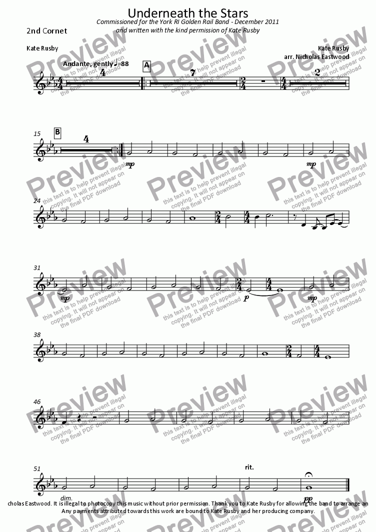page one of the 2nd Cornet part from Underneath the Stars